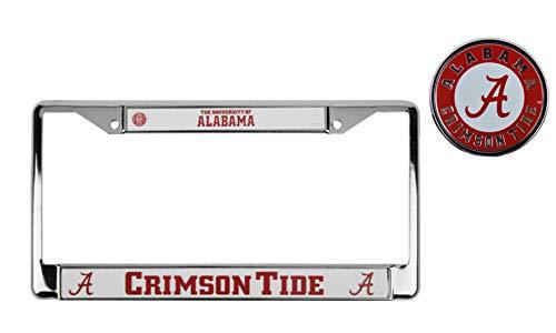 NCAA Official National Collegiate Athletic Association Fan Shop Licensed Shop Authentic Chrome License Plate Frame and Colored Auto Emblem (Alabama Crimson Tide) ()