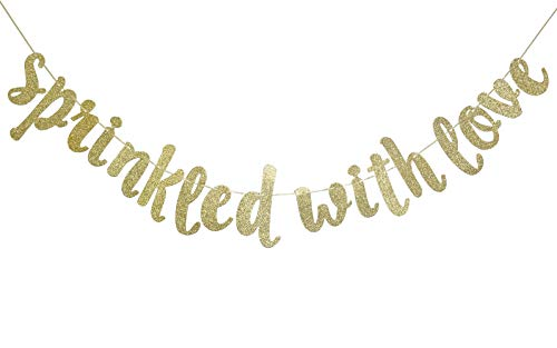 Sprinkled with Love Glitter Gold Banner, Baby Sprinkle Banner,Baby Shower, Gender Reveal Party, Glitter Party Decor (Gold)