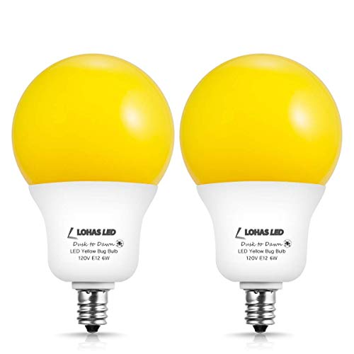 LOHAS A19 Amber Yellow LED Bug Light Bulb Dusk to Dawn Light Bulb, E12 Candelabra Base, 6W (40W Equivalent), Not-dimmable, Auto On Off for Indoor Outdoor Security Porch Garden Light, 2 Pack