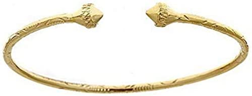 Better Jewelry 10K Yellow Gold Baby West Indian Bangle w Ball Ends Made in USA