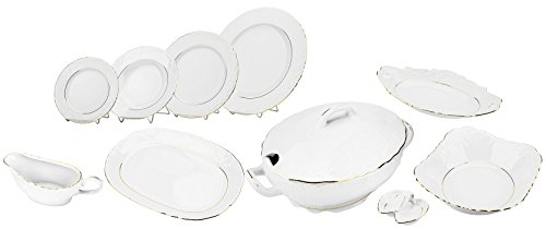 Cmielow 38046, 'Rococo' Gold Band Dinner Set for 6, Premium 25-piece Porcelain Dinnerware Set (Gold Porcelain Band)