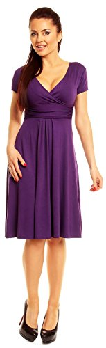 Zeta Ville - De Las Mujeres - Envolver V-cuello Llamarada Verano Vestido - Corto Mangas - 108z Púrpura