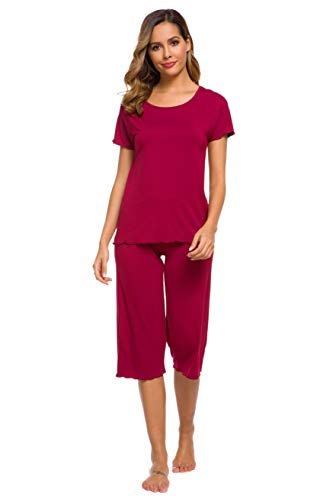 Women's Short Sleeve Pajamas Bamboo Sleepwear Capri Pants Pj Set for Women S-4X