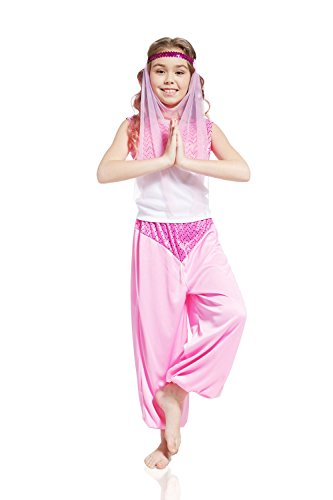 Belly Dance Turkish Costumes (Kids Girls Arabian Princess Halloween Costume Belly Dancer Dress Up & Role Play (6-8 years, pink, white))