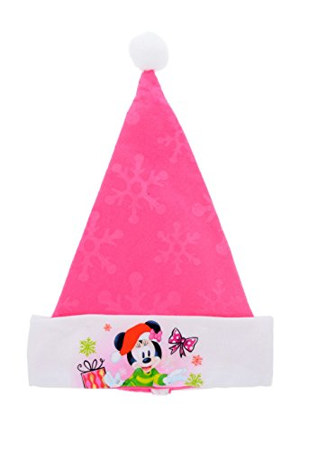Disney Mickey & Minnie Mouse Festive Felt Santa Hats with Embossed Designs (Minnie)