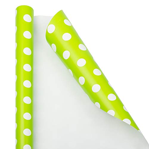 JAM PAPER Gift Wrap - Polka Dot Wrapping Paper - 25 Sq Ft - Lime Green with White Dots - Roll Sold Individually