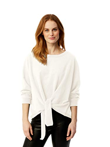 525 America Women's French Terry Tie Front Pullover, Ecru Small