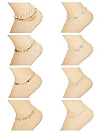 LOYALLOOK 8-12Pcs Beach Anklets Bracelets Foot Jewelry Alloy Chain Set Adjustable for Women