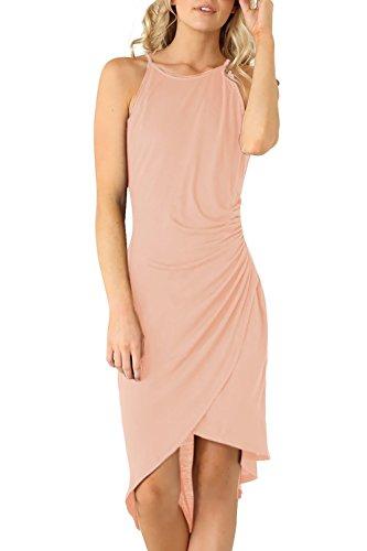 Eliacher Women's Summer Spaghetti Strap Sleeveless Casual Bodycon Midi Dress Pink Small (Bust  72-82cm/28.30-32.30