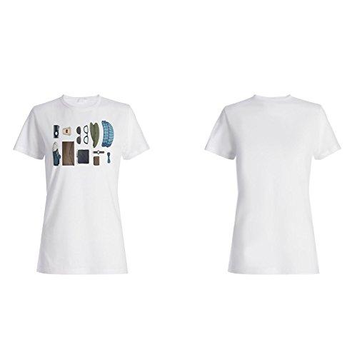 Verschiedene Art Hipster Artikel lustig Damen T-shirt g796f