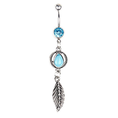 BODYA Oval Drop Turquoise Crystal Leaf Dangle Belly Button Ring Navel Barbell 14G Stainless Steel