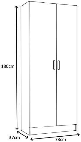 Armario Vita para cocina o lavadero de 2 puertas en blanco, 180 cm x 73 cm x 37 cm: Amazon.es: Hogar
