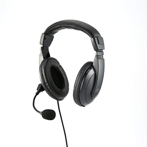 Professional Noise Cancelling Radio Overhead Headsets Headphones with VOX-PTT Boom Mic for 2 Pin Kenwood
