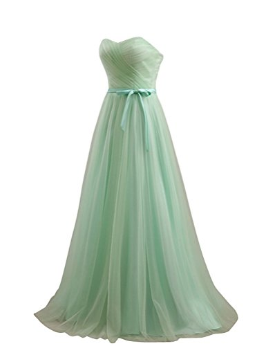 LOVEBEAUTY Women's Tulle Party Prom Dresses Bridesmaid Dresses Long Mint Green US 2