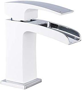 滝の注ぎ口の蛇口温水と冷水バスルームのシンク蛇口シングルハンドル真鍮の洗面化粧台の蛇口デッキマウントされた現代的なトイレの蛇口