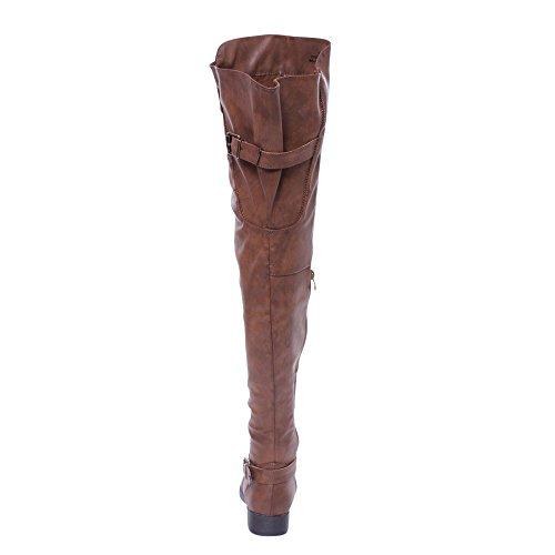 Collezione Fiore Deblossom Renee-13 Donna Fibbia Laterale Cerniera Coscia Alta Stivali Da Equitazione Nuda