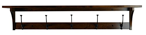 Wood Coat Rack Shelf Wall Mounted, Shaker, 5 Hook, Brown Maple Wood, Asbury ()