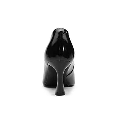 Donna Vernice Red Da Quadrato Alto Europee Scarpe In Con Argento Tacco Ycgcm 70wEf7