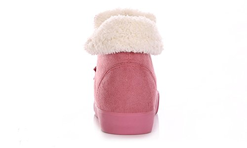 Minetom Women Fashion Fur Knight Female Warm Ankle Boots Fur Boots Autumn Winter Shoes Pink WhnXY