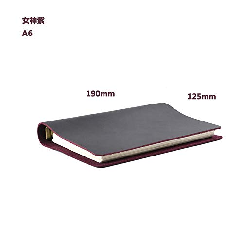 - Zylbjb Notebook Gift Leather Loose-Leaf Retro Leather Hand Book Business Office A5A6A7-A6 Goddess Purple