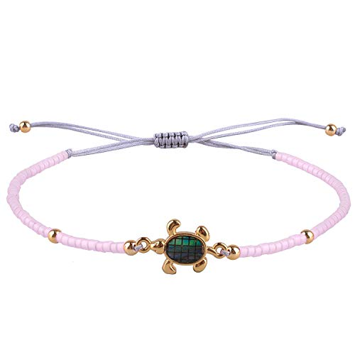 Abalone Shell Bracelet - KELITCH Handmade Friendship Bracelet Abalone Shell Turtle Braided Beaded Bracelets Jewerly Gift (Light Purple)