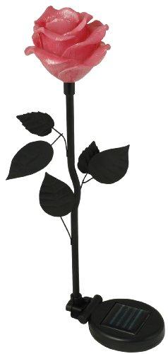 Moonrays 91405 Solar-Powered LED Flower Stake Light, Pink Rose