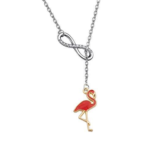 FUSTMW Flamingo Y Necklace Flamingo Jewelry Gifts Infinity Love Charm Bird Pendant Gift (Silver)