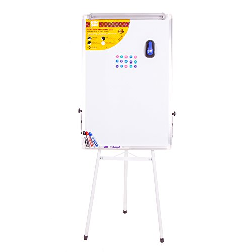 (PRIMEPACK Dry Erase Whiteboard with Easel Stand | Portable for Art, Office- Tripod, Knobs, Clips, Pen Holder Included - Big Universal Magnetic Boards for Any Dry-Erase Markers, Pens + 24 x 36)