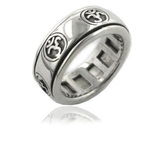 Sterling Silver OM or Aum Hindu Yoga Symbol Meditation Spin Ring Size 8(Sizes 4,5,6,7,8,9,10,11,12,13,14,15) (Silver Spinning Sterling Spin Ring)
