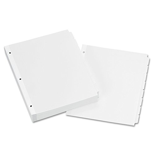Avery 11507 Write & Erase Plain-Tab Paper Dividers, 8-Tab, Letter, White (Box of 24 Sets) by Avery