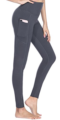Women's High Waist Yoga Pants with Side Pockets & Inner Pocket Tummy Control Workout Running 4-Way Stretch Sports ()