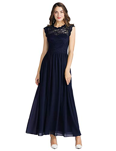 MUADRESS 6056 Women's Formal Lace Dress Floral Bridesmaid Dress Evening Wedding Party Navy X-Large