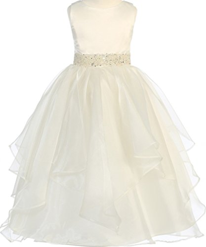BNY Corner First Communion Flower Girl Dress Satin Organza Bead Embellished Big Girl Ivory 10 CB.302 for $<!--$48.00-->