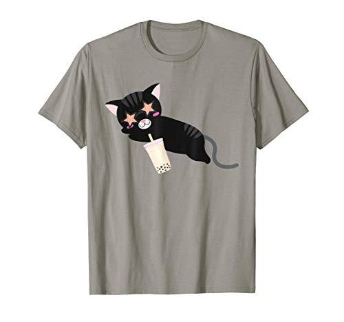 Black Cat With Shade Drinking Boba Milk Tea Kawaii -
