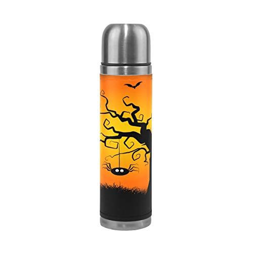 DEYYA Spooky Halloween Tree Pattern Print 17 oz Double Walled Vacuum Insulated Stainless Steel Water Bottle Vacuum Flask Travel Mug Thermos Coffee Cup ()