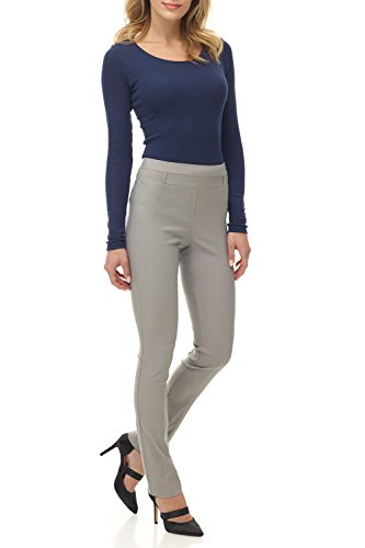 (Rekucci Women's Ease in to Comfort Fit Stretch Slim Pant (16SHORT,Silver))