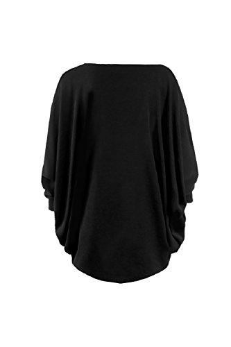 La Mujer Casual Knit Suelto Batwing Manga Oficina Sweater Cardigan Black