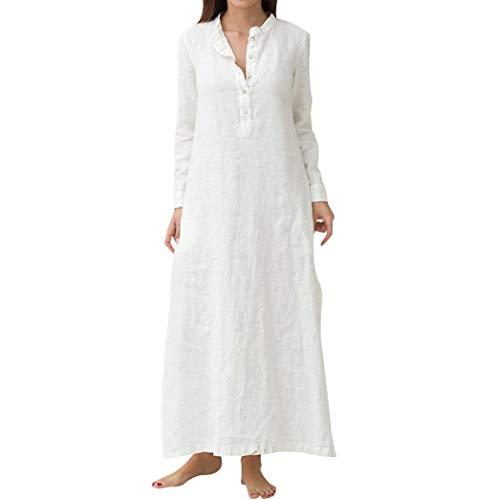 Clearance!Womens Maxi Long Shirt Dress,Ladies Kaftan Cotton Long Sleeve Plain Casaul Oversized Dresses (XL, ()
