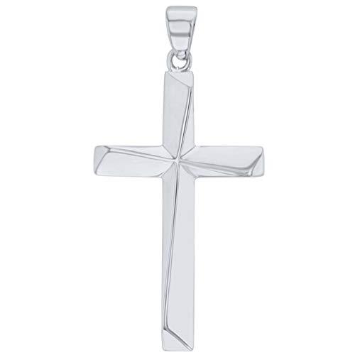 Solid 14K White Gold Elegant Religious Plain Cross Pendant ()