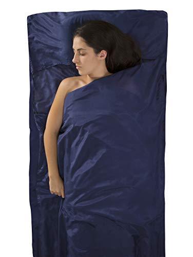 (Sea to Summit Premium Blend Silk/Cotton Traveler Travel Liner with Pillowcase, 88 x 36 inch, Navy Blue)