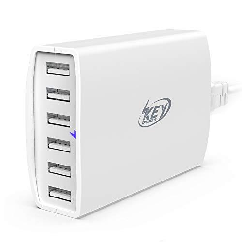 Key Power USB Wall Charger, 60 Watt 12A 6-Port Charging Station for Apple iPhone X/XR Max / 8/7 / 6 Plus, iPad Air/Pro, Samsung Galaxy S9 / S8 / S7 ()
