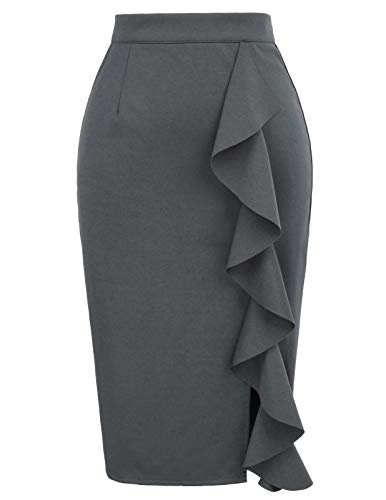 Women's Ruffle Bodycon Knee Length Midi Pencil Skirt XXL Grey (Shirt Pencil Skirt)