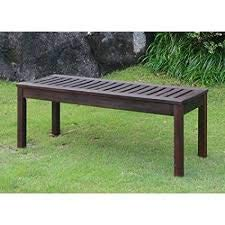 Weather Resistant Backless Outdoor Garden Bench, Galvanized Steel Hardware, Teak Oil Finish, Dark Brown, Seats 2