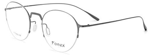 FONEX Vintage Round Glasses Women Titanium Alloy Myopia Spectacles Frames 8102 (grey, - Vintage Spectacles Round