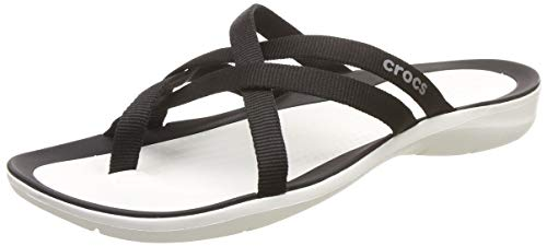 Crocs Women's Swiftwater Webbing Flip Slide Sandal Black/White 4 M US