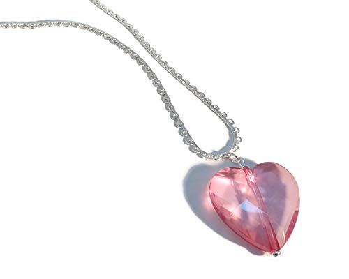(Rose Pink Acrylic Crystal Heart Sweetheart Necklace, Pretty Silver Plated Lace Chain, Handmade)