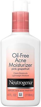 Neutrogena Oil Free Acne Facial Moisturizer with.5% Salicylic Acid Acne Treatment, Pink Grapefruit Acne Fighti