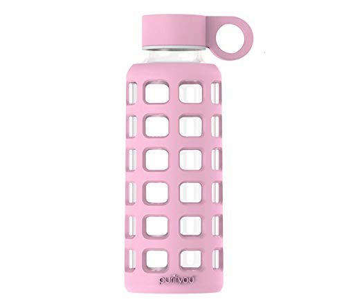 purifyou Premium Glass Water Bottle with Silicone Sleeve & Stainless Steel Lid Insert, 12/22/32 oz (Misty Rose, 12 (Stainless Steel Lid Insert)