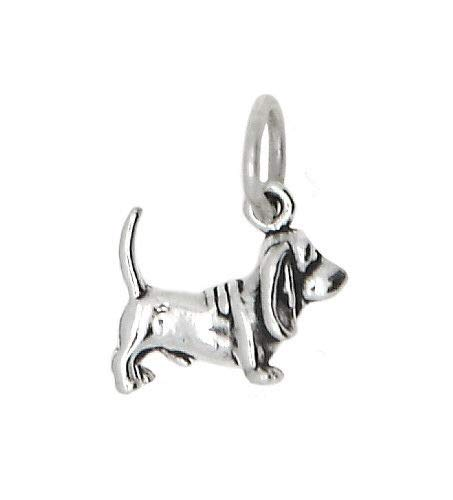 New Sterling Silver 925 Tiny Lightweight Basset Hound Dog Charm/Pendant Jewelry Making Supply Pendant Bracelet DIY Crafting by Wholesale Charms]()
