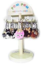 Handmade Fuzzy Animal Pom Pom Key Ring Accessory Décor, Panda